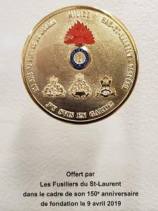 Médaillon commémoratif 150 ans Fusiliers du St-Laurent (vignette)