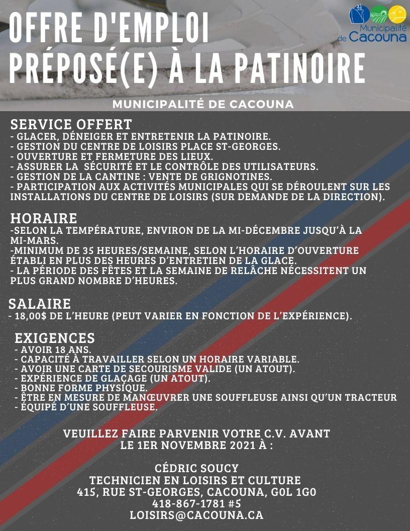 Offre d'emploi - Préposer patinoire (Auteur : Cédric Soucy)