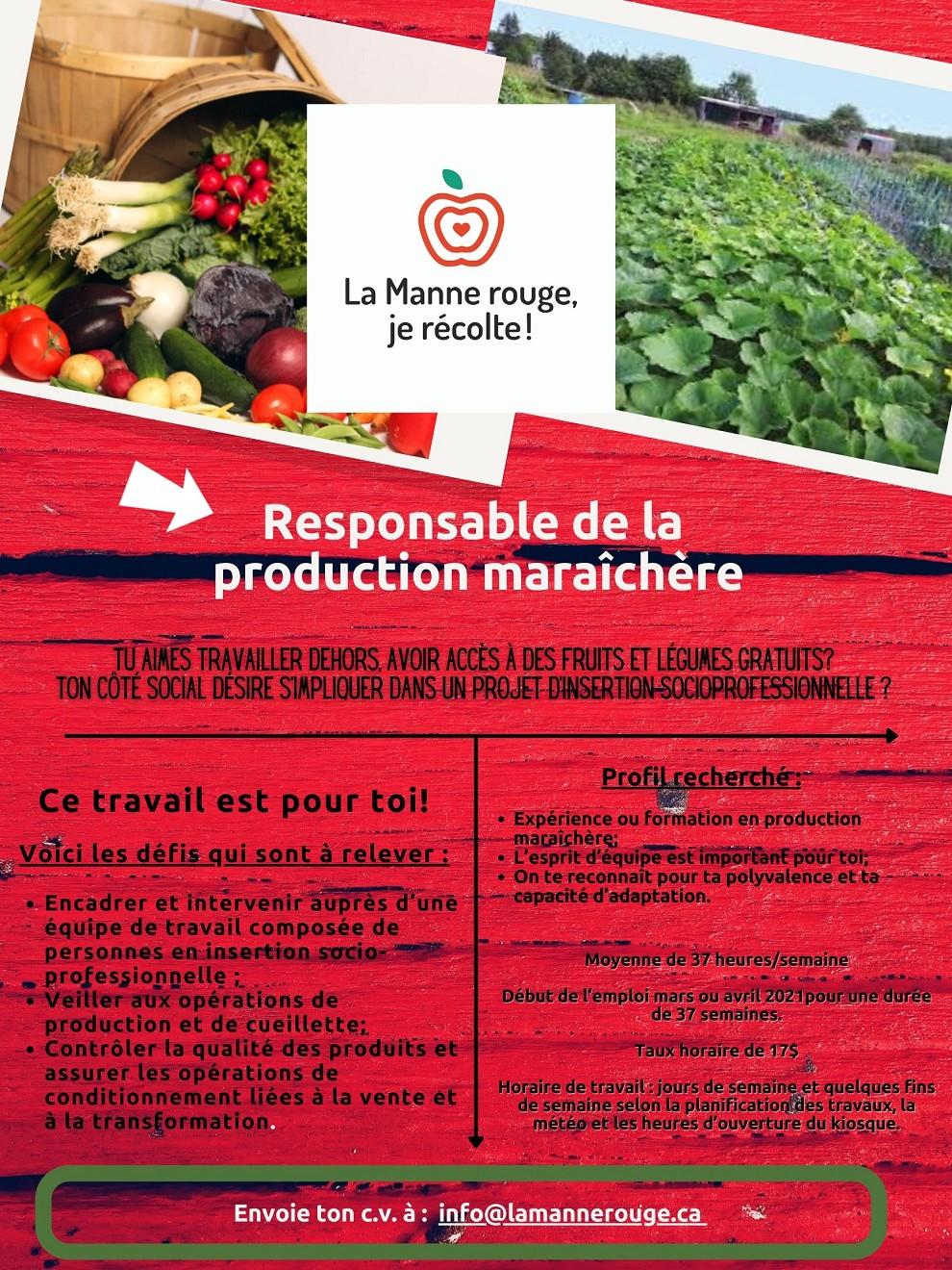 Affichage de poste - Responsable de la production maraîchère