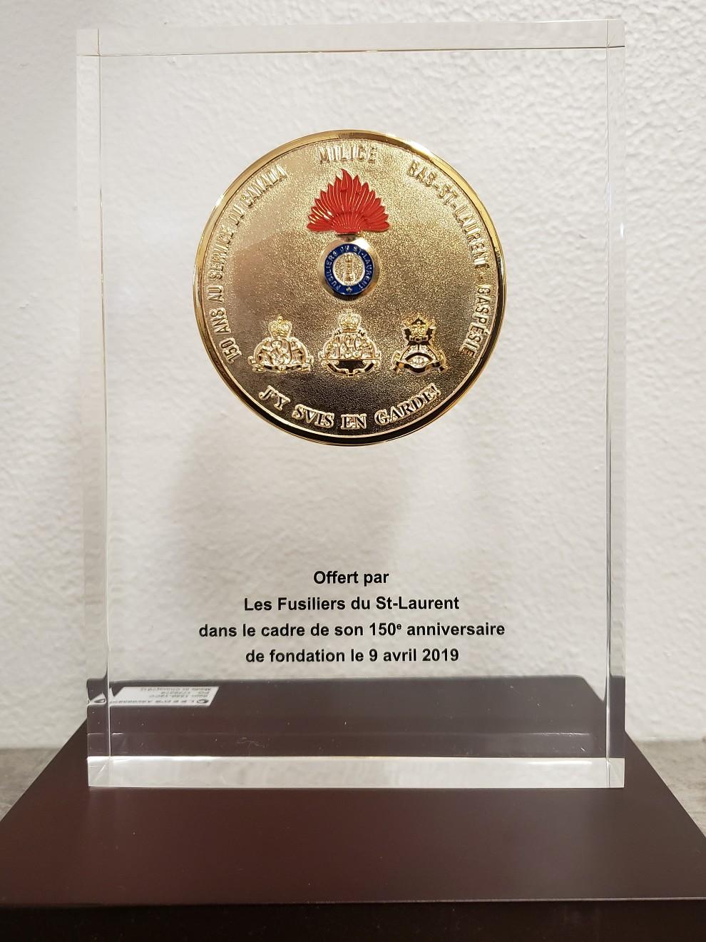 Médaillon commémoratif 150 ans Fusiliers du St-Laurent