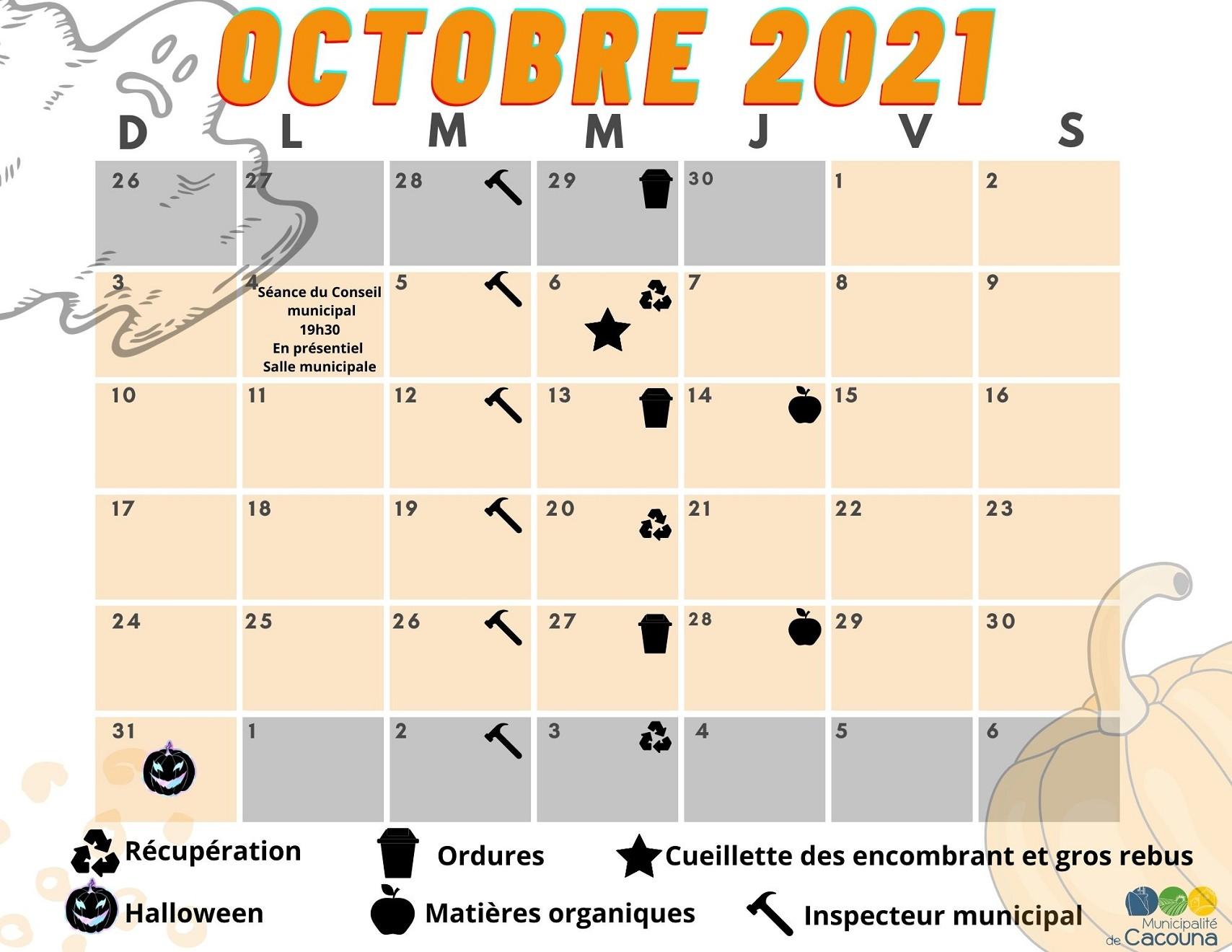 Calendrier Octobre 2021 (Auteur : Cédric Soucy)